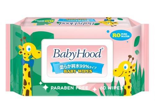 Khăn Ướt Em Bé BabyHood 60 Miếng - Không Mùi